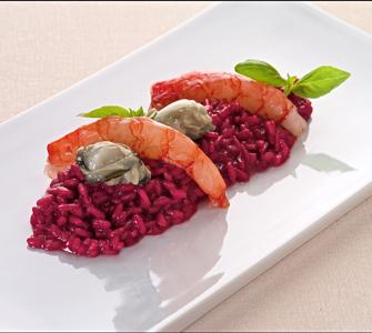 Risotto al karkad con gamberi rossi ostriche e fiori di for Alta cucina ricette